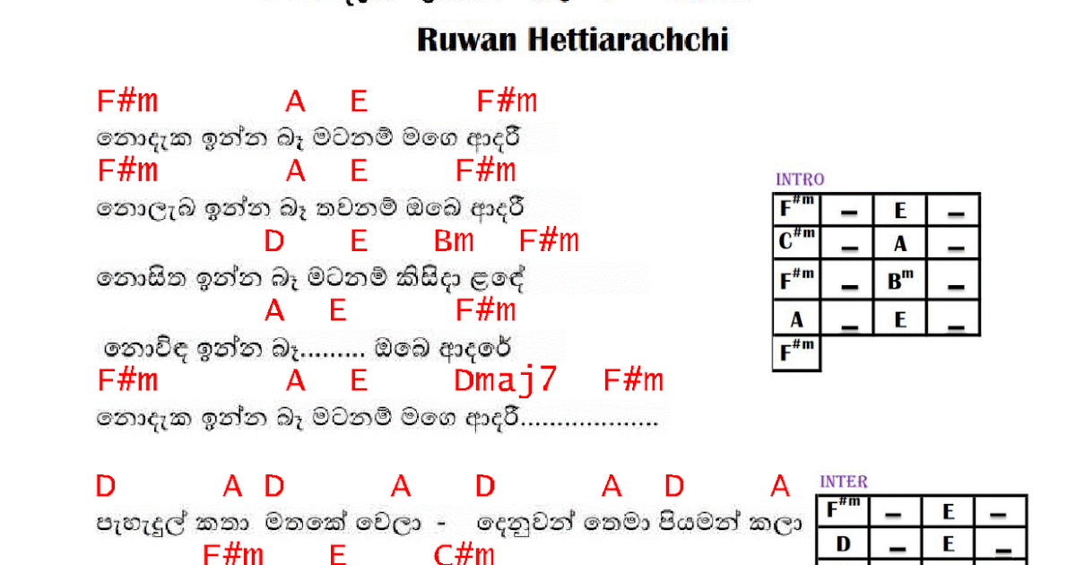 Nodaka Inna Ba Guitar Chords : Sinhala Guitar Chords:Sinhala Songs Chords:Guitar Tabs:Sinhala ...