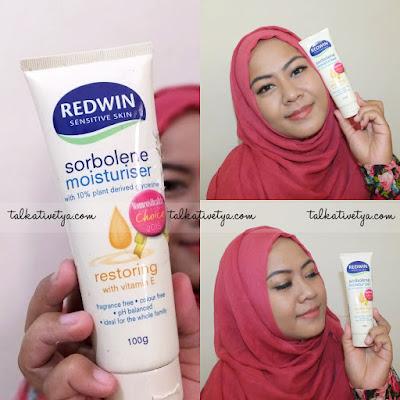 Redwin Sorbolene Moisturiser Restoring with Vitamin E terbukti mampu mengembalikan kelembabab kulit sehingga kulit menjadi sehat dan indah.