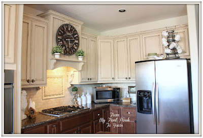 French Farmhouse Kitchen-French Country Kitchen-Two tone Kitchen Cabinets- Old Ochre Annie Sloan Chalk Paint