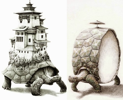 02-Turtles-At-A-Crossroad-Redmer-Hoekstra-Surreal-Animals-Ink-Drawings-www-designstack-co