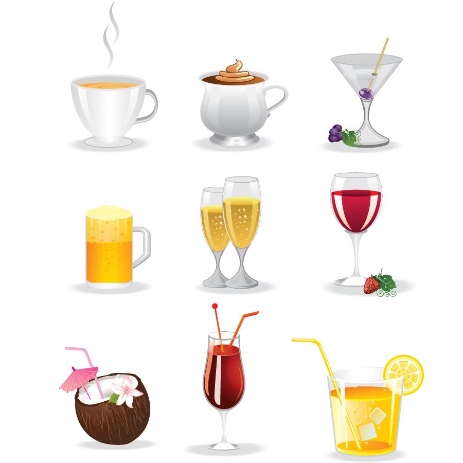 カラフルなドリンク アイコン Colorful drinks icon イラスト素材