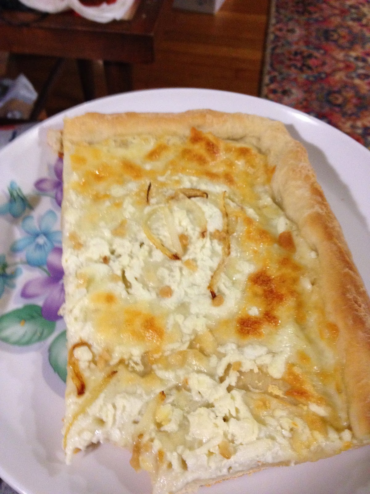 slice of homemade white pizza