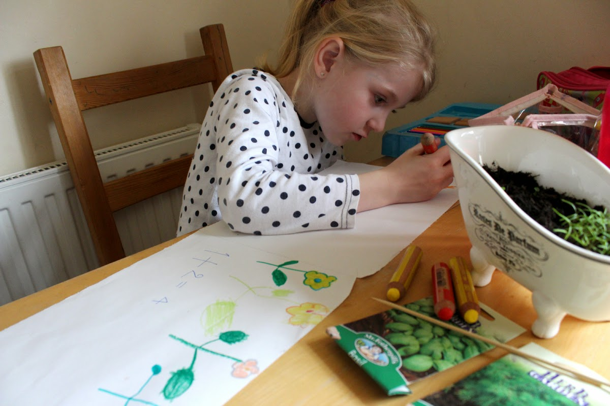 girl drawing, family fun, our herbs, spiring, todaymyway.com