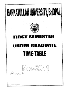 Barkatullah university madhya pradesh first semester for Bu time table 6th sem