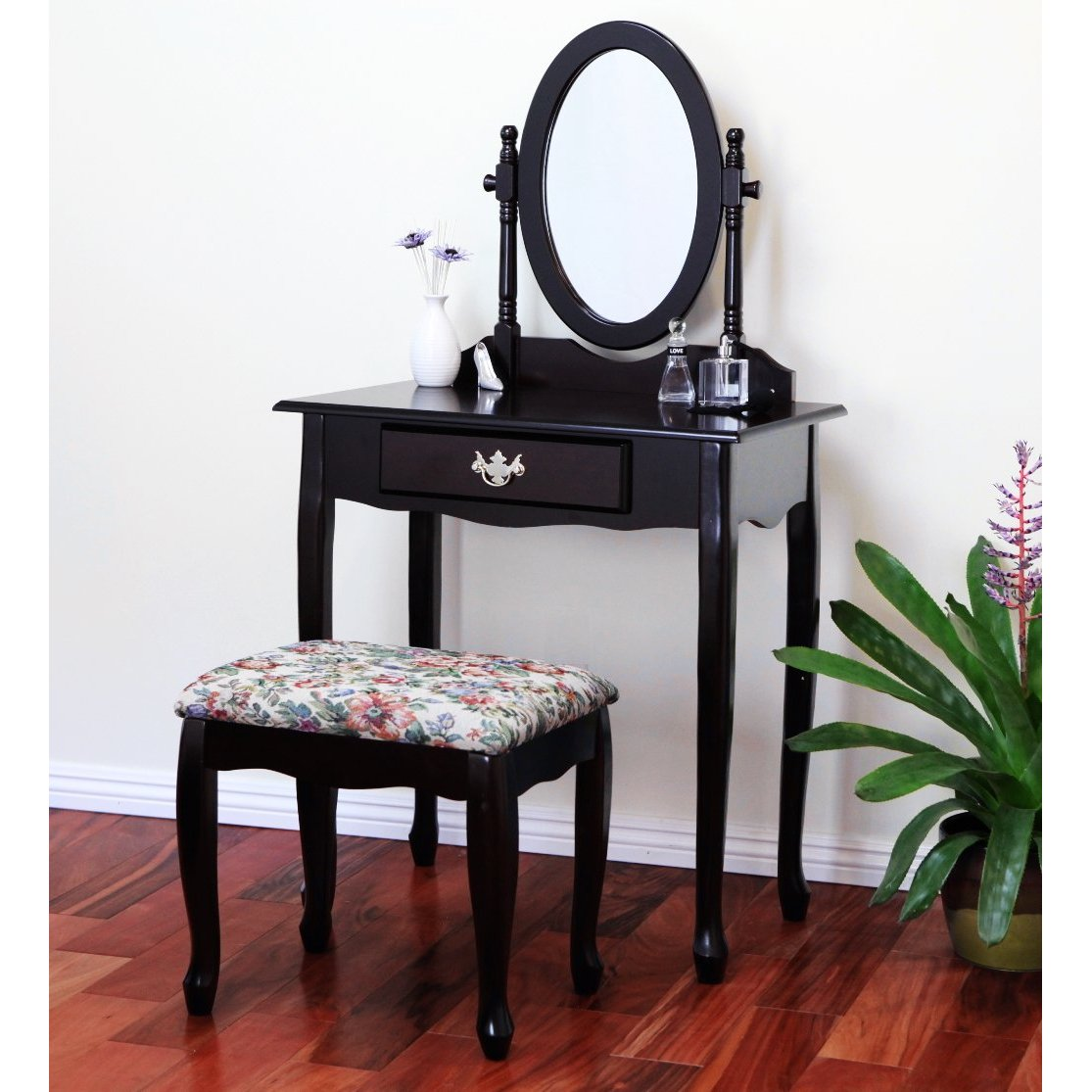 Vanity Tables With Oval Mirror Cherry Finish Vanity Set