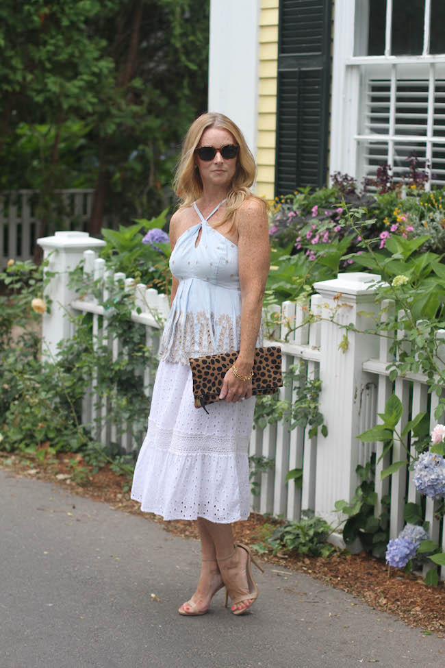 anthropologie top, white lace skirt, steve madden heels, clare v clutch, elizabeth & james sunglasses, julie vos bracelet