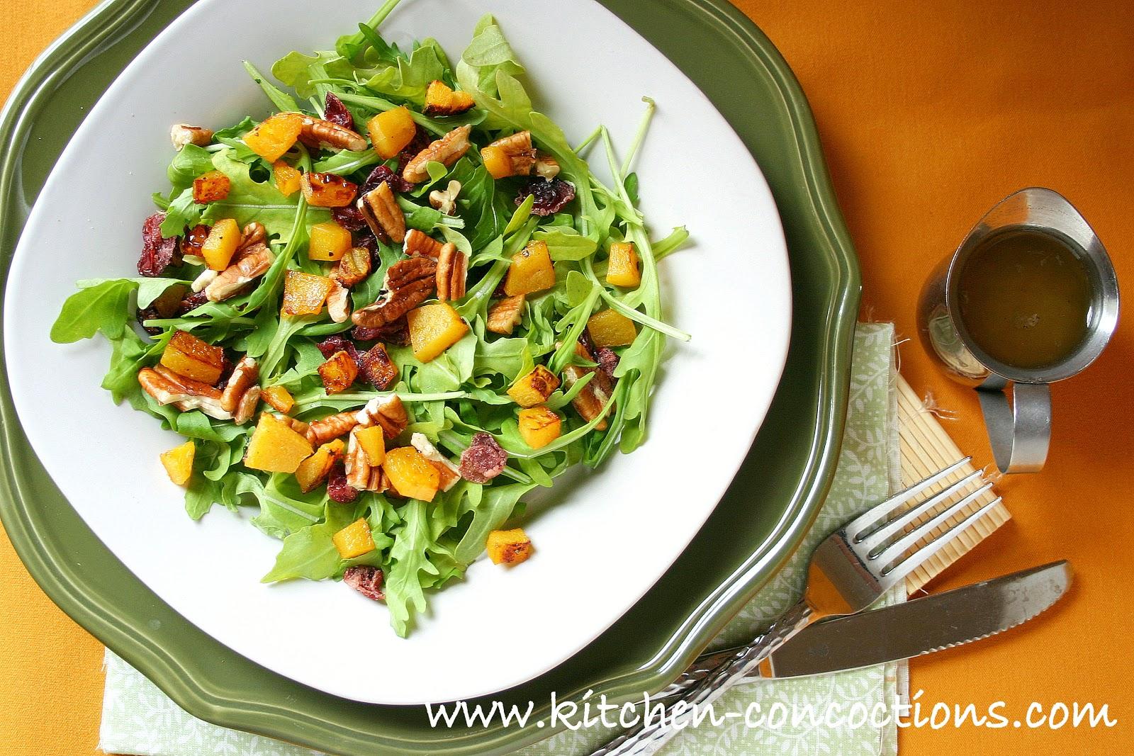 Roasted Butternut Squash Salad with Warm Cider Vinaigrette - Kitchen ...