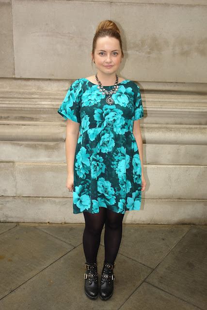 WHAT I WORE TODAY: floral mint dress Motel Patience Babydoll Dress in Tonal Floral Mint, WHAT I WORE TODAY, WIWT, Motel Rocks, minted, dresses, ASOS, ankle boots, necklace, New Look, jewellery, hair bun, top UK fashion beauty blogger, outfit, OOTD