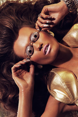 swarovski tanning goggles, woman wearing gold swim goggles, beauty photographer nyc