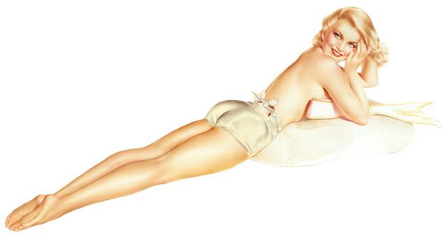 illustration pin up blonde dos short arlberto vargas