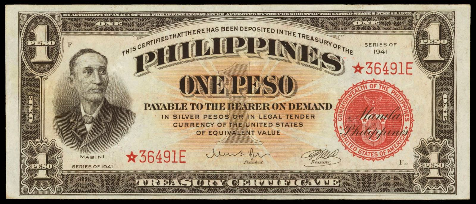 Philippines one peso treasury certificate 1941world banknotes philippines banknotes 1 peso treasury certificate 1941 xflitez Gallery
