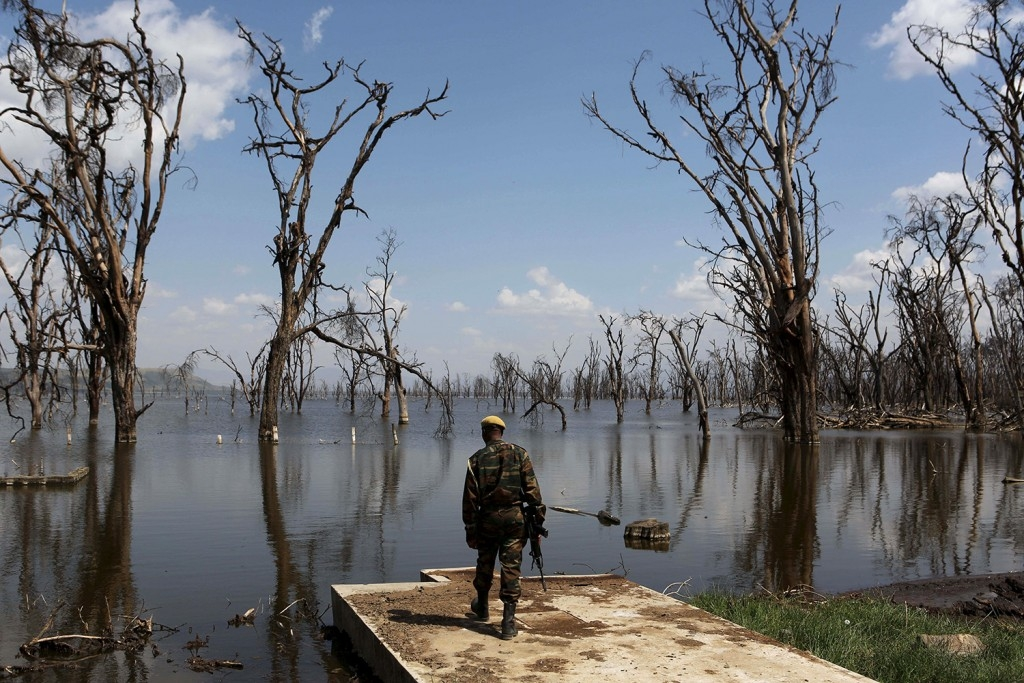 70 Of The Most Touching Photos Taken In 2015 - A park ranger surveys damage caused by flooding at Lake Nakuru National Park, Kenya. Deforestation has made the impressive ecosystem prone to floods.
