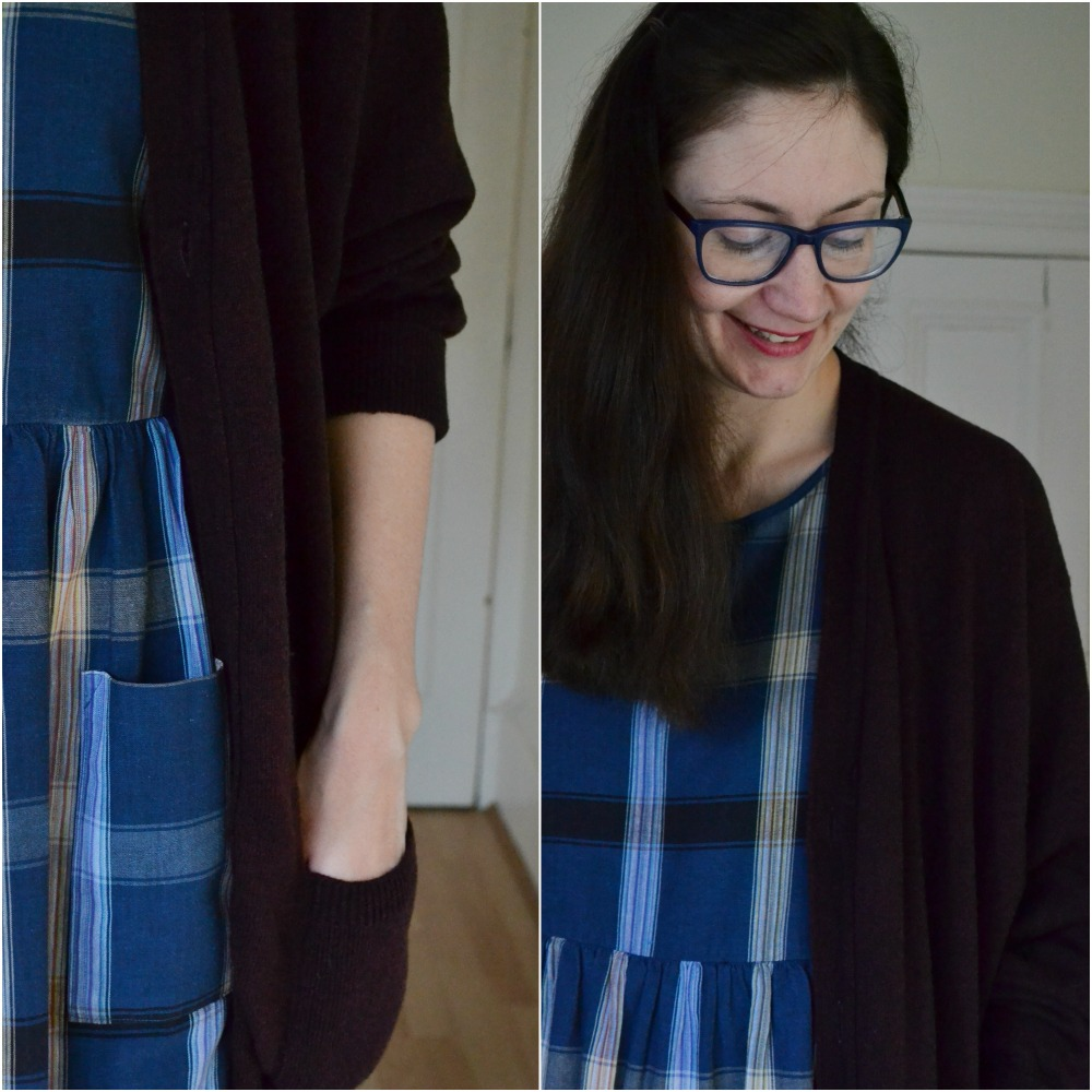pockets check plaid dress charity shop cardigan m&s