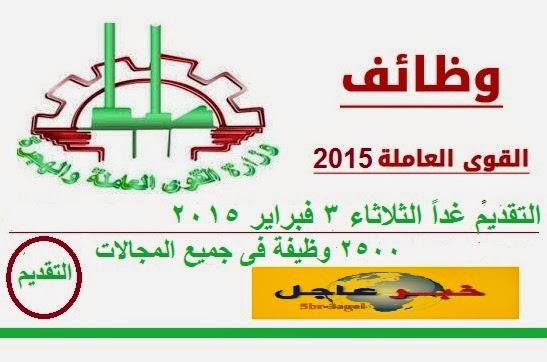 """التقديم : غداً الثلاثاء 3 فبراير """"وزارة القوى العاملة واعلان 2500 فرصة عمل جديدة """""""