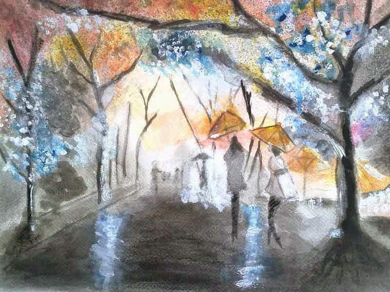 parque bajo la lluvia