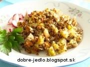 Zapekaná pohánka so zemiakmi a údeným mäsom - recept