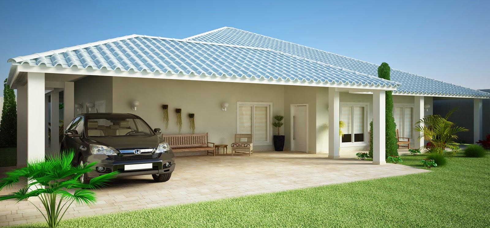 Maquete eletr nica casa de campo moderna for Casa moderna en el campo