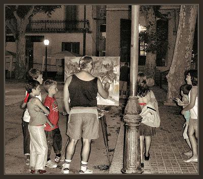 ARENYS DE MUNT-PINTURA-PLAÇA-ESGLESIA-PINTOR-PINTANDO-FOTOS-ERNEST DESCALS-