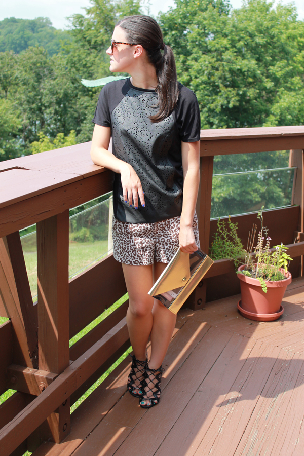 leopard shorts, faux leather tee, clutch