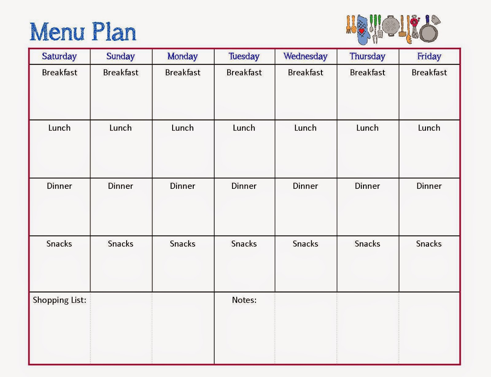 Free printable chart to organize your meal plan for the week