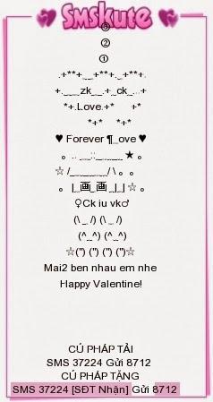 Tin nhắn SMS Valentine đẹp xếp hình bằng ký tự tặng người yêu