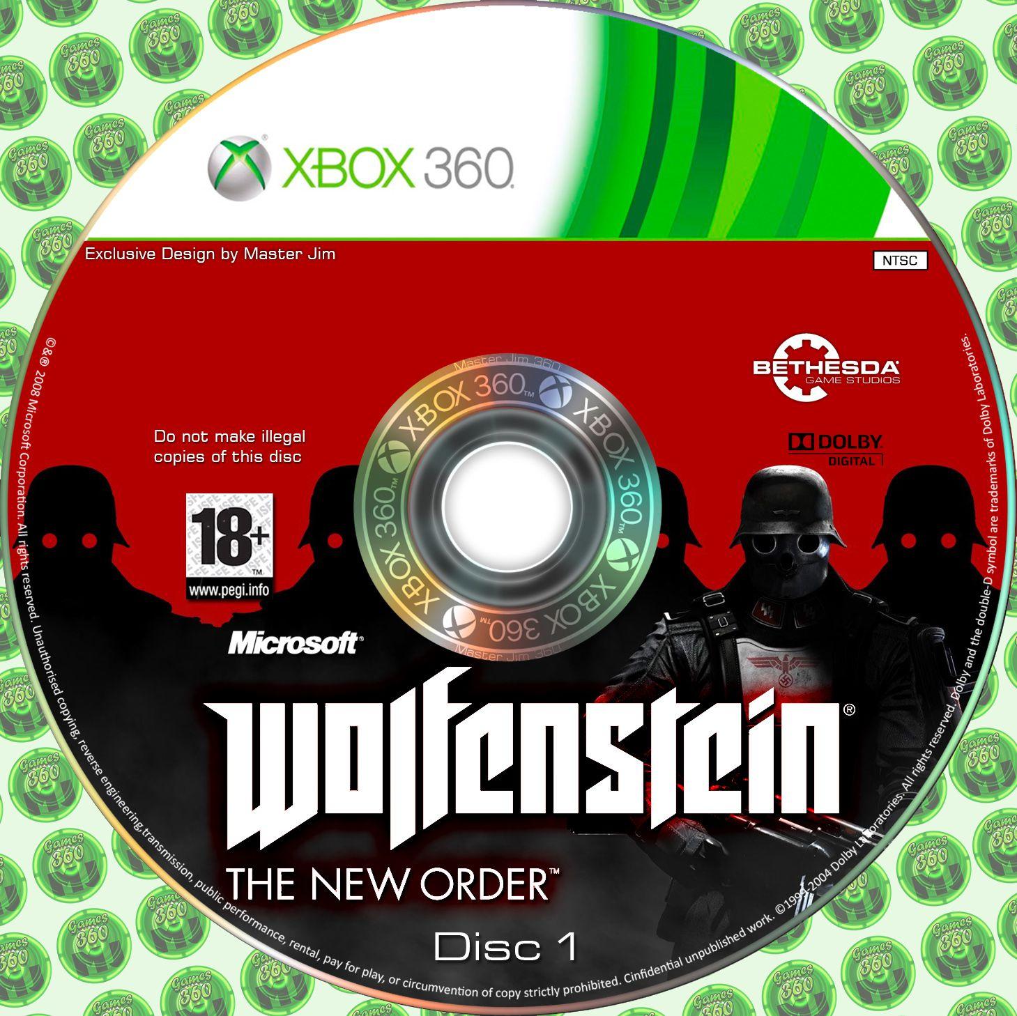 Label Walfenstein The New Order Disc 1 Xbox 360