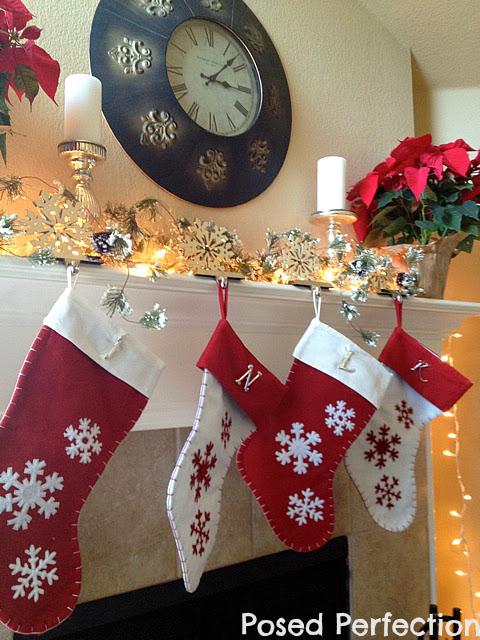 Poinsettia and Snowflakes Christmas Mantel