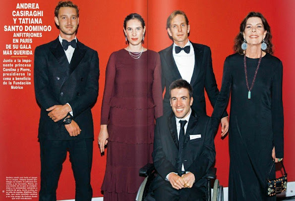 Princess Caroline of Hanover, Andrea Casiraghi, Pierre Casiraghi, Tatiana Santo Domingo attended the annual charity dinner of the Foundation Motrice in Paris