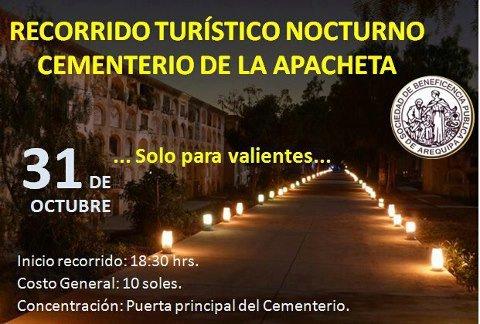 Recorrido turístico nocturno Cementerio de La Apacheta Arequipa (31 oct)