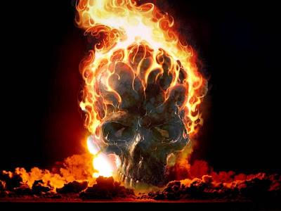 Skull On Fire - Horror Wallpaper