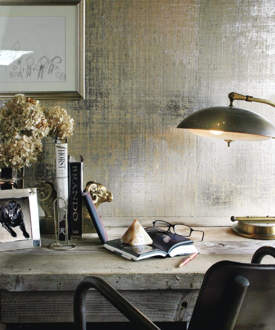 Rooms With Grasscloth Wallpaper: The New Victorian Ruralist: Metallic Grasscloth Wallpaper