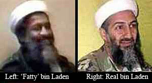 fake Bin Laden seen in videos next to real Bin Laden