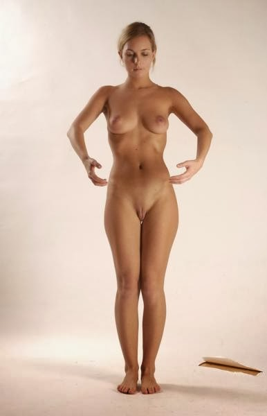 woman standing up straight nude