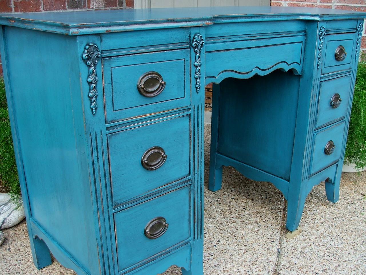 Peacock Blue Vanity Desk Facelift Furniture
