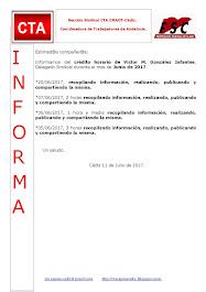 C.T.A. INFORMA CRÉDITO HORARIO VÍCTOR GONZALEZ, JUNIO 2017