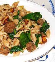 "Conchiglie with Potatoes, ""Meatballs"" and Spinach - by Holy Cow! Vegan"