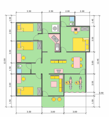 layout desain rumah mewah 1 lantai