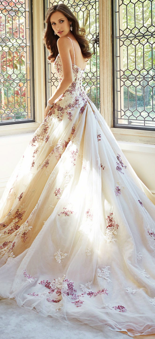 Sophia tolli fall 2014 bridal collection belle the magazine for Wedding dresses with roses on them