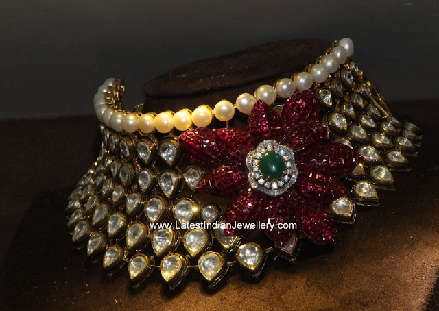 Polki Diamond Choker Ruby Flower
