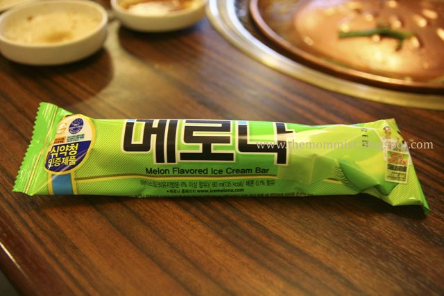 Melon flavored ice cream bar