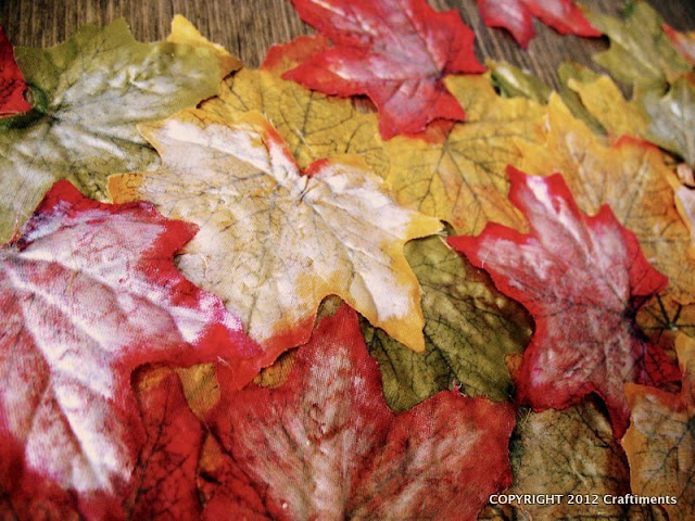 Craftiments:  Falling leaves mixed media art closeup