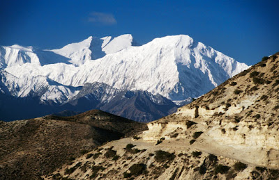 Mustang, Nepal - Tilicho Peak and Annapurna I from Tama Gaon
