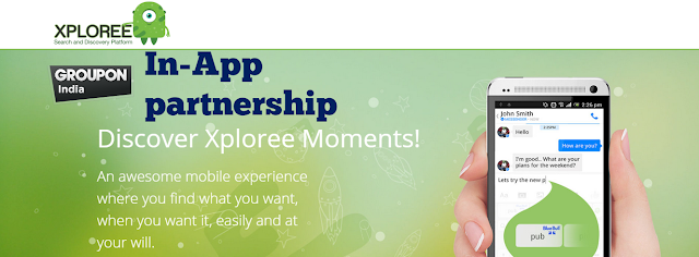 XPLOREE TO OFFER REALTIME IN-APP DEALS TO GROUPON