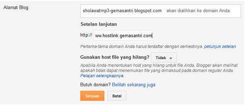 Cara Membuat Subdomain dari Custom Domain di Blogspot