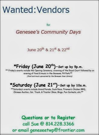 Vendors Wanted For Genesee's Community Days