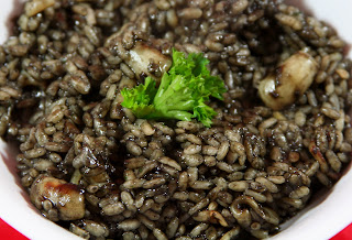 Italian black rice squid