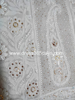 Chikankari Anarkali in Resham Thread with Golden Mukaish Kamdani work
