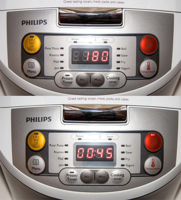 Philips Multicooker HD3037 temp and time