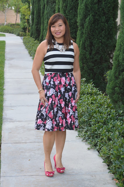 Nicole Miller Crop Top, WHBM Floral Dress, Ivanka Trump Florina Pumps, Pattern mixing, office style